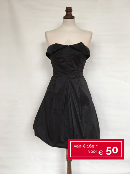 Cocktailjurk A Lijn.Dameskleding Outlet Black A Line Strapless Taffeta Dress