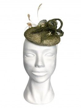 Fascinator groen sinamay lurex